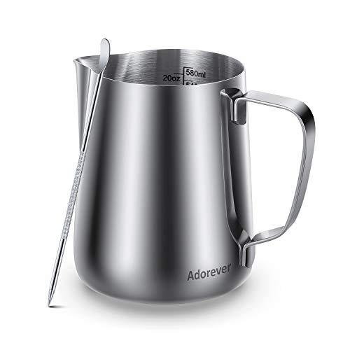 Milk Frothing Pitcher 600ml/350ml/900ml (20oz/12oz/32oz) Steaming Pitchers Stainless Steel Milk/Coffee/Cappuccino/Latte Art Barista Steam Pitchers Milk Jug Cup with Decorating Art Pen, Latte Arts