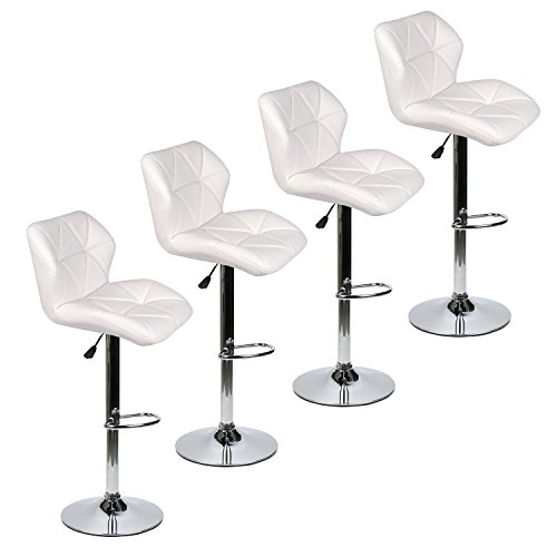 PULUOMIS Bar Stools Modern Hydraulic Adjustable Swivel Barstools, Leather Padded with Back, Dinning Chair with Chrome Base, Set of 4, White (Leather Modern Bar Stool)