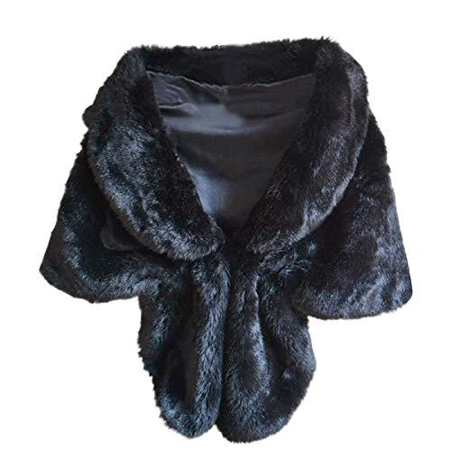 STRIR Estolas para Fiestas Mujer de Pelo Sintetico Chales de Invierno y Otono Decoracion para Vestidos (Negro)
