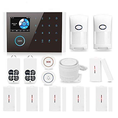 Home Security Alarm System,GSM 3G/4G GPRS Wireless Burglar Alert Wi-Fi SMS Calling Alarms IOS Android APP Autodial Siren…