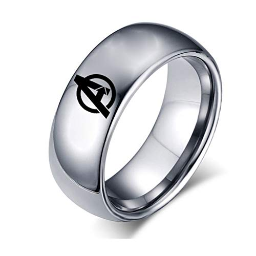 HPY Avengers Titanium Steel Ring Endgame Accessories Ring Curved Glossy 8mm Unisex, Silver 7 -
