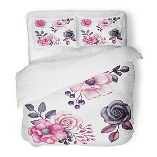 (Emvency Bedding Duvet Cover Set Full/Queen (1 Duvet Cover + 2 Pillowcase) Red Rose Watercolor Pink Flowers and Black Leaves Design Floral White Halloween Emo Hotel Quality Wrinkle and Stain)