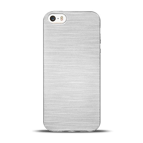 iPhone SE, 5S, 5 Silikon Hülle, Conie Mobile Brushed Case Schlanke Schutzhülle TPU Handyhülle Backcover Rückschale in Weiss
