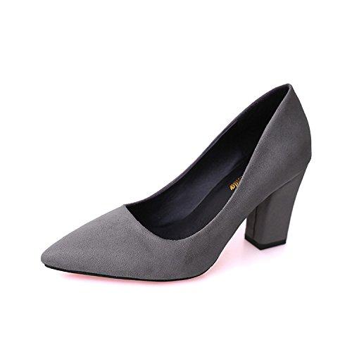 de de espesor A los de de satén dulce de y de versátil mujer con zapatos conjunto zapatos la alto punta tacón la scripts Gris luz de rWWYP68
