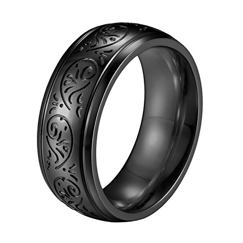 Flongo Mens Vintage 7mm Stainless Steel Ring Band BlackTone Engraved Florentine Design, Size 8