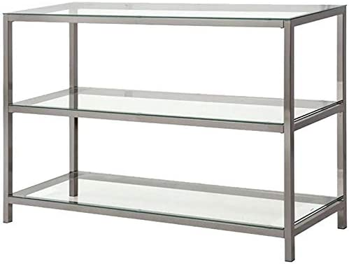 BOWERY HILL 2 Shelf Glass Console Table in Black Nickel