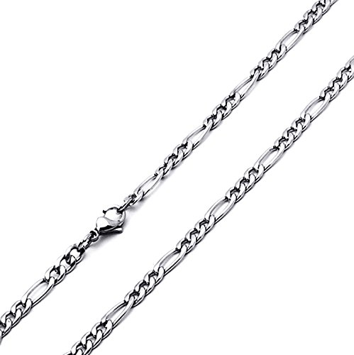 Stainless Steel 4.5mm Figaro Link Chain Necklaces Available 20, 22, 24, 30