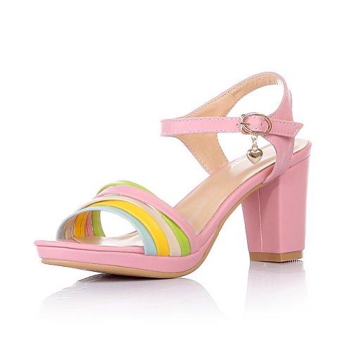 VogueZone009 Womens Open Toe High Heel Chunky Heels Platform PU Assorted Colors Sandals with Metal Pink YbxHW