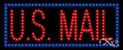 11x27x1 inches U.S. Mail Animated Flashing LED Window Sign