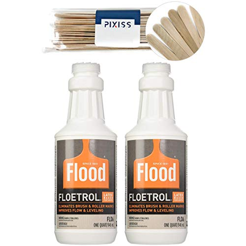 2X 1-Quart Flood Floetrol Additive and 20x 6-inch Pixiss Wood Mixing Sticks Pouring Bundle -  PPG, Pixiss, BDL-00194