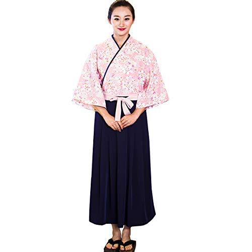 XINFU Sushi Waitress Uniform Pink Sakura 3/4 Sleeve Restaurant Japanese Kimono Kitchen Work Coat