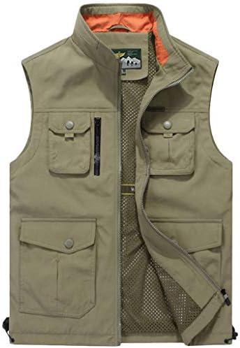 ノースリーブベストカジュアルメンズ春の薄いセクションマルチポケットソリッドカラーのジャケット屋外速乾性の潮3色 UOMUN (Color : Khaki, Size : L)