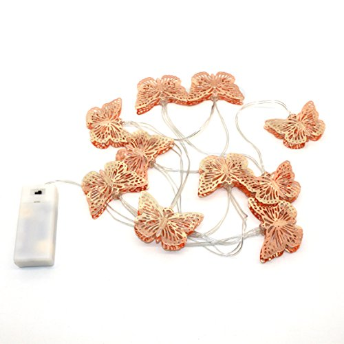 CVHOMEDECO. Rose Gold Metal Butterfly Design LED String Lights Battery Operated with Timer for Home Bedroom Wedding Party Birthday Valentine's Day and Holiday Seasonal Décor, 5 ft/10 LEDs from CVHOMEDECO.