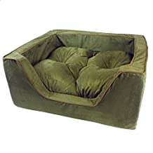 Snoozer 21481 X-Large Luxury Square Pet Bed, Olive/Coffee