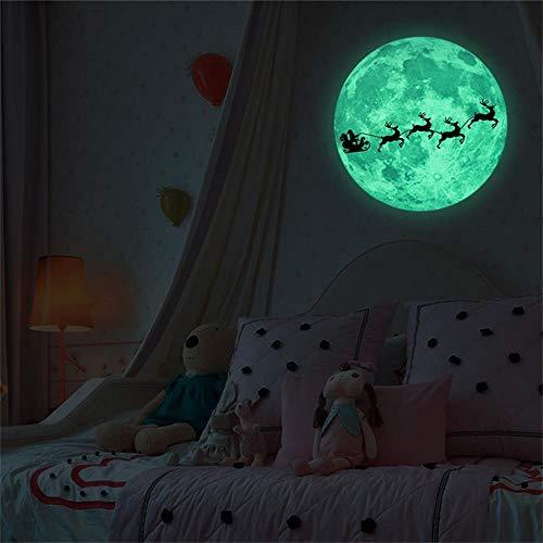 YJYDADA Wall Sticker,Christmas 3D Luminous Moon Deer Wall Sticker for Kids Rooms Glow in The Dark Bed (C)