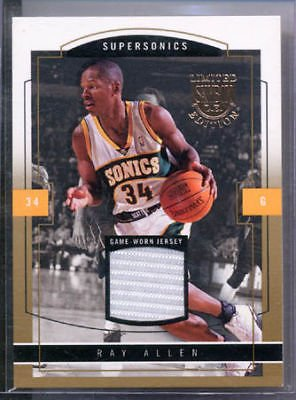 03-04 Skybox LE Ray Allen Jersey Gold Proof #/10 Celtic Ray Allen Authentic Jersey