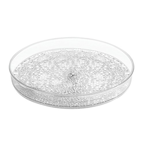 InterDesign Rain Lazy Susan Cosmetic Organizer Turntable Tray – Perfect for Vanity Cabinet to Hold Makeup and Beauty Products, Clear (Perfume Vanity)