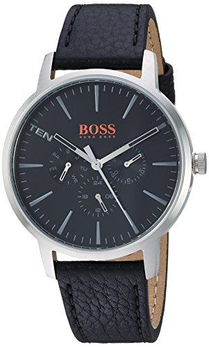 (HUGO BOSS Orange Men's 'Copenhagen' Quartz Stainless Steel and Leather Casual Watch, Color:Black (Model: 1550065))