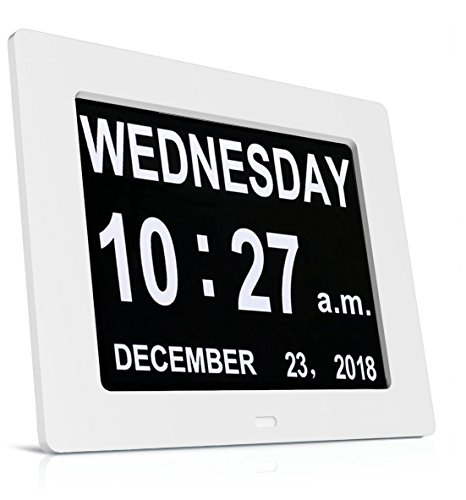 HeQiao Digital Dementia Clock with Alarm, Digital Large Non-Abbreviated Day...