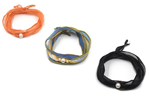 Kissyan 3PCS Pearl Dyed Silk Choker Necklace / Wrap Bracelet / Hair Band / Anklets For Women Girl (Black/Orange/Gradually Varied Blue) Wrap Bracelet Anklet