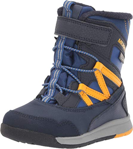 Merrell Boys' Snow Crush JR WTRPF Boot, Navy/Saffron, 10.0 M US Toddler