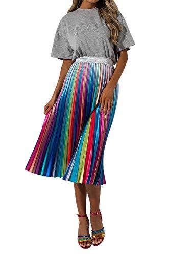 AKIRA Women's Rainbow Holo Accordion Pleat High Waist Swing Midi Skirt-Rainbow_S