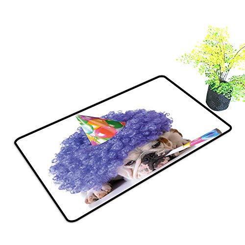 Zmstroy Front Door Mat Large Outdoor Indoor Kids Birthday Boxer Dog Animal with Purple Wig with Colorful Party Cone Funny Photo Print W24 xL35 Hard and wear Resistant Multicolor]()