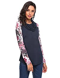 Meaneor Women's Print Long Sleeve Pullover T-Shirt Cowl Neck Knitting Top,S-XL
