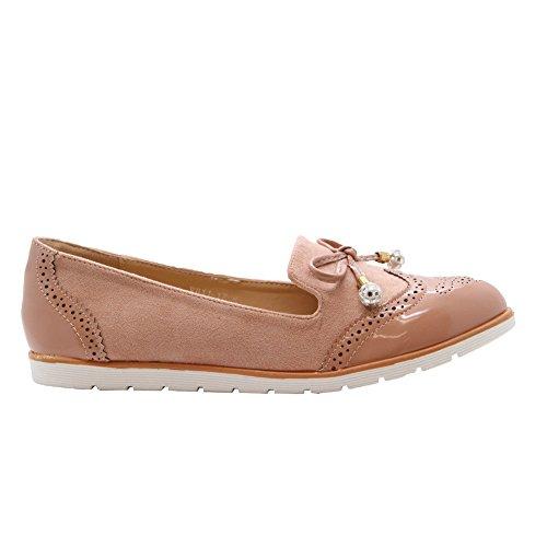Loafers Rosa På Pumper Sko Damene Stiler 8 Womens Brogue Flat Slip Størrelse Ballerinaer 3 Bow Saute Kontor af84wqX