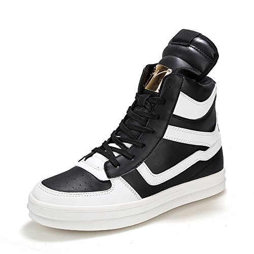 Xianv Nouvelles Baskets De Marque Mode Pour Hommes Haut Chaussures En Cuir Respirant Sport Homme Noir Et Blanc