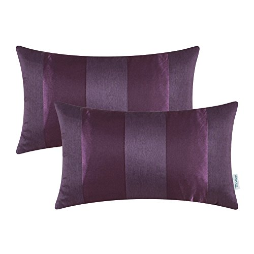 CaliTime Pack of 2 Cushion Covers Bolster Pillow Cases Shells Couch Sofa Home Decoration Modern Shining & Dull Contrast Striped 12 X 20 Inches Deep Purple