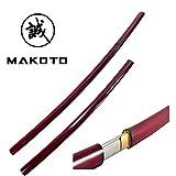 Makoto Handmade Shirasaya Japanese Samurai Katana Sharp Sword Burgundy Red