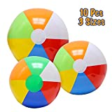 "VCOSTORE Inflatable Rainbow Beach Balls 10 Bulk Include 12""(6), 16""(2), 20""(2) Summer Beach Pool Party Favors Supplies Pool Toys for Kids Adults"