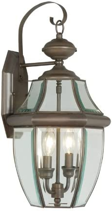 Livex Lighting 2251-07 Monterey 2 Light Outdoor Bronze Finish Solid Brass Wall Lantern with Clear Beveled Glass