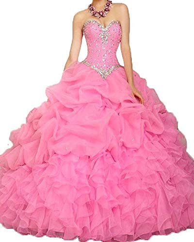 Onlybridal Women's Off Shoulder Quinceanera Dresses Hot Pink Beaded Prom Ball Gowns Sweet 16 Dresses Size 8