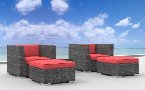 Urban Furnishing - Curacao 5d Ultra Modern Outdoor Backyard Wicker Patio Furniture Sofa Chair 5pc All-Weather Couch Set - coral red
