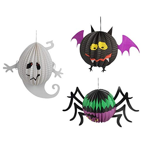 Paper Ball - 3 Pcs Halloween Paper Lanterns Three Dimensional Spooky Ghost Spider Bat Decoration - Blue Kitchen Lampion Navy Character Bulb Ammo Wall Honeycomb Projector Yellow Balls Flowers -