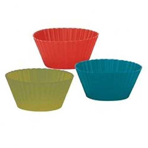 """Fancy Trudeau Muffin Cups Silicone Med 3.5"""" Set Of 6 Red Green Blue New In Box 482 F"""