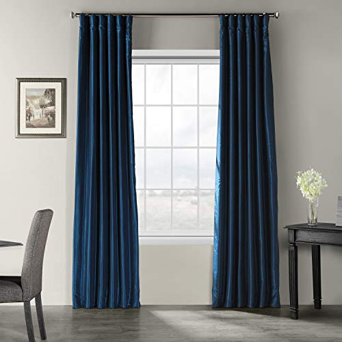 HPD Half Price Drapes PDCH-KBS70-108 Vintage Textured Faux Dupioni Silk Curtain, 50 X 108, Captain's Blue
