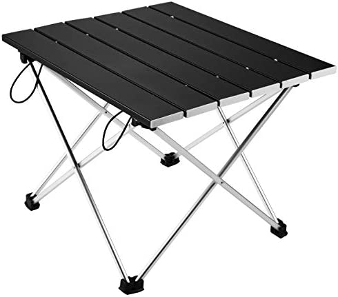 Vockvic Camping Folding Portable Table, Lightweight Aluminum Foldable Small Compact Roll Up Table with Carry Bag, Easy to Carry and Setup, Fit for Picnic, BBQ, Beach, Fishing, Indoor and Outdoor