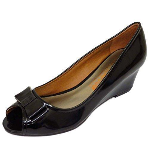 Ladies Black Patent SLip-On Low Wedge Heel Work Smart Court Peep-Toe Shoes Sizes 5-9