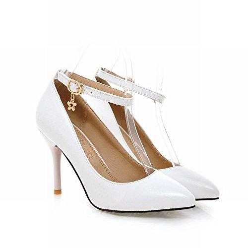 Latasa Dress Shoes Womens Stiletto Ankle High Pointed Solid Color White Heel Pumps Fashion strap toe rTUqfrP