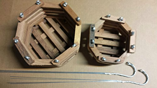 Orchid Box - Wood Slat Vanda Orchid Baskets. Octagonal. Cedar. Set of 2. (1 Each 6 - 8 Inch) With 2 - 20 inch 4 way hangers.