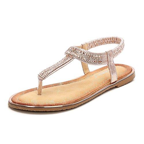 Meeshine Women Bohemia Flat Sandals Summer Beach Glitter Beads Elastic T-Strap Flip-Flop Thong Shoes(8 B(M) US,Champagne 05) -
