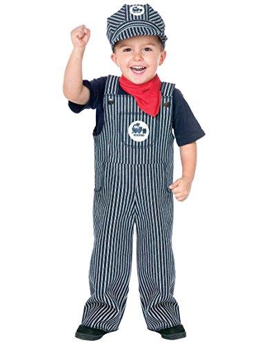 Train Engineer Halloween Costume Toddler (Fun World Costumes Baby's Train Engineer Toddler Costume, Blue/White, Large(3T-4T))