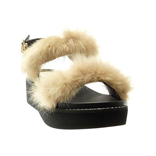 Angkorly Damen Schuhe Sandalen Mule - Plateauschuhe - Bommel - Pelz Keilabsatz High Heel 5 cm - Camel