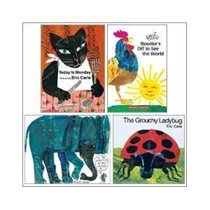 - Eric Carle Set (4 Books) (The Grouchy Ladybug; Today is Monday; Do You Want to Be My Friend?; Rooster's Off to See the World)