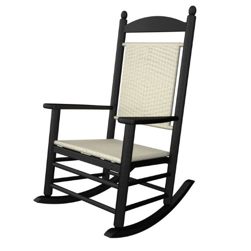 (Rocker Jefferson Woven Chair Seat/Back Finish: White Loom, Frame Finish: Slate Grey)