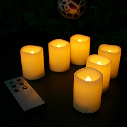 Candle Choice Flameless Candles with Remote Led Votive Candles with Timer, Warm Yellow 6 Pack (1.5x2.0