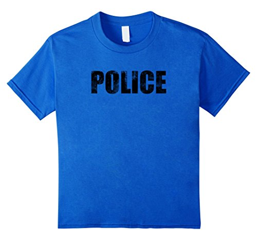 70s And 80s Style (Kids Police T-Shirt Retro 70s & 80s Style Faded Officer Costume 4 Royal Blue)